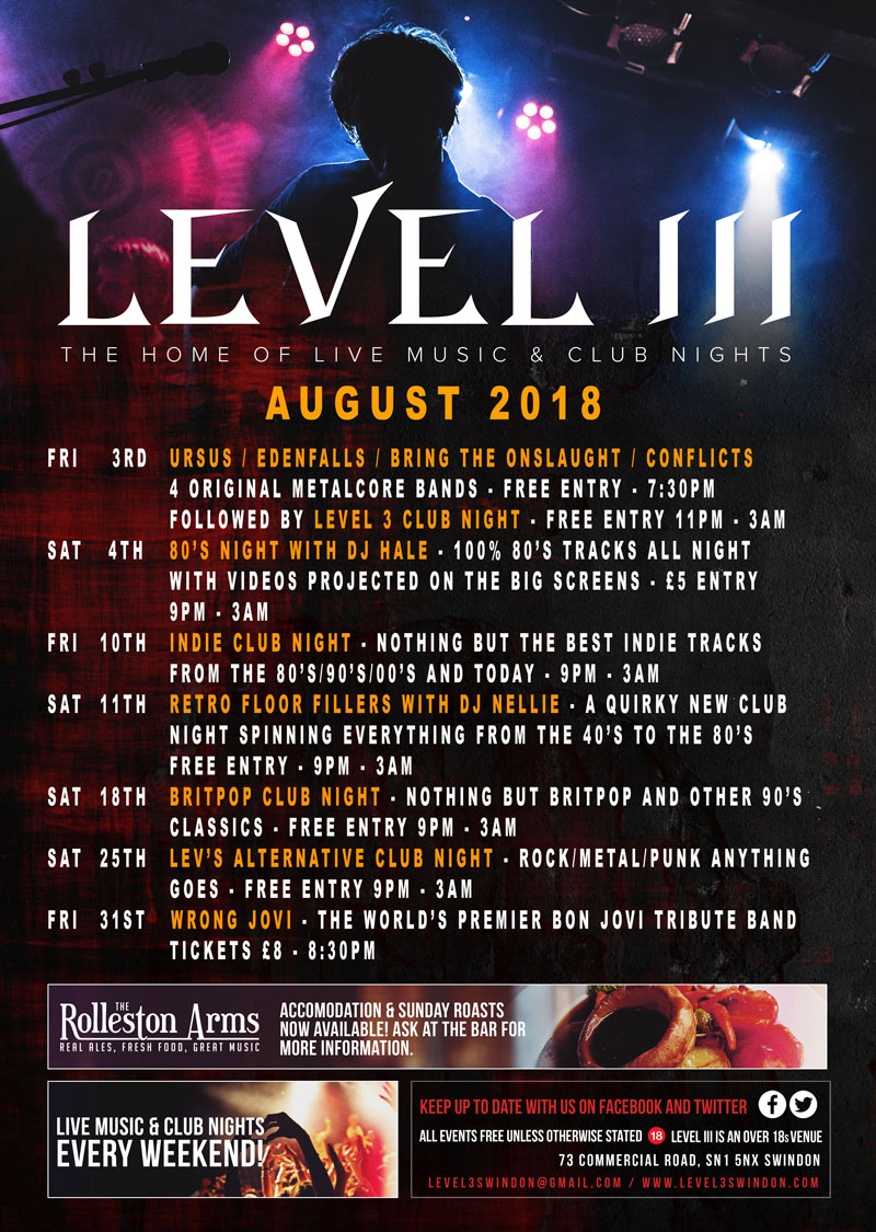 What's on at Level 3 Swindon and The Rolleston Arms